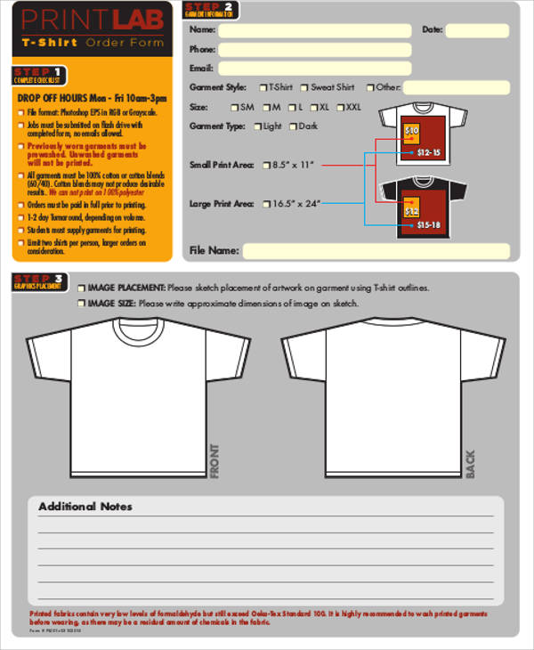 Sample Shirt Order Form   Examples In Word Pdf