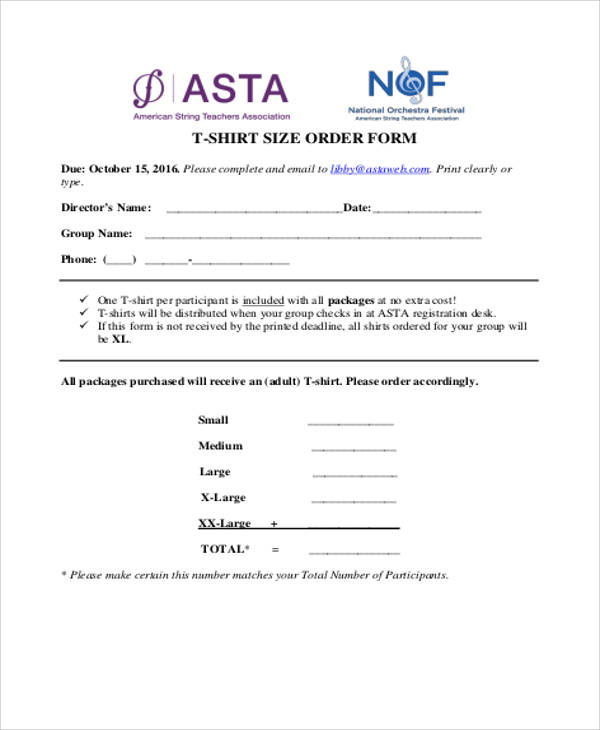shirt size order form pdf