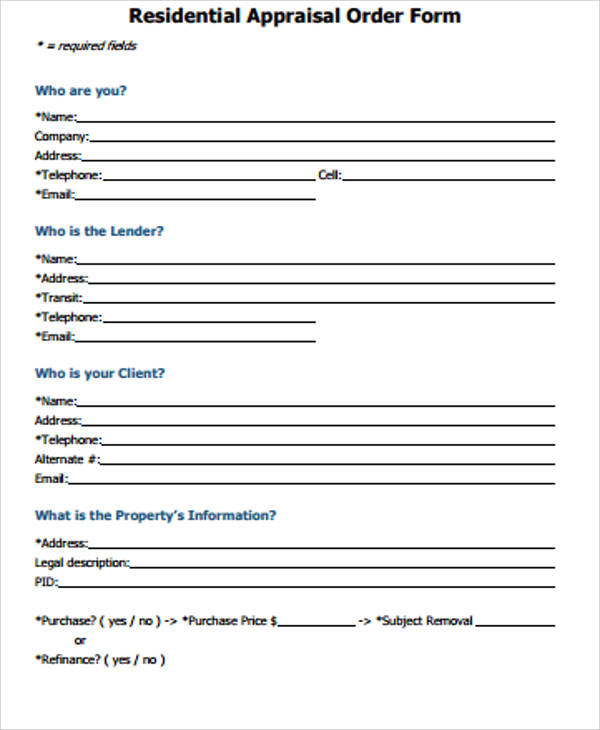 11+ Sample Appraisal Order Forms