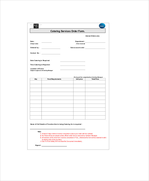 catering services order form