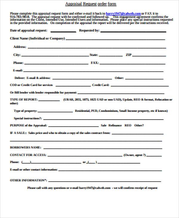 sample appraisal request order form