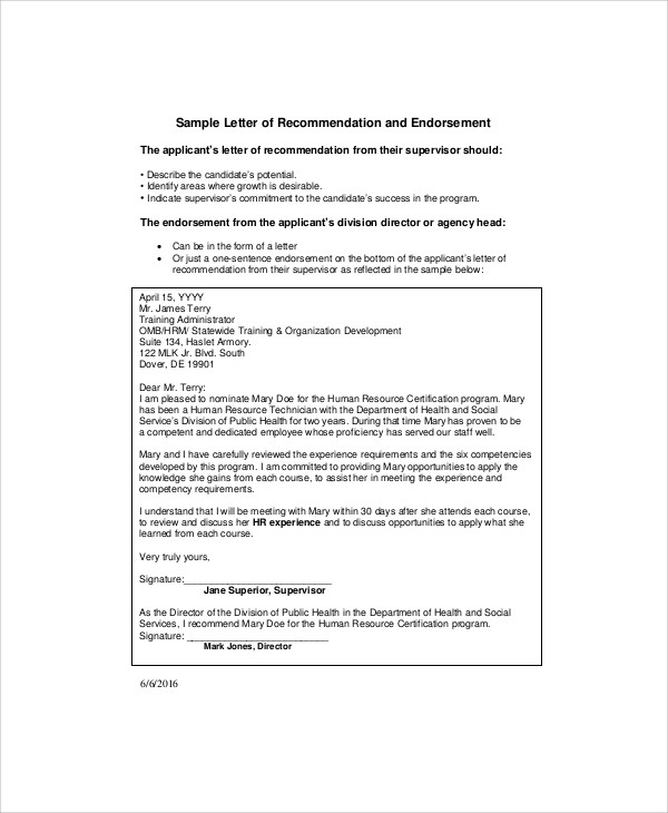 Wonderful Human Resources Promotion Recommendation Letter Sample