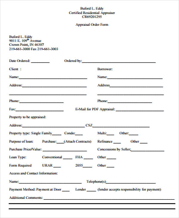 Appraisal Order Form For FloridaAppraisal.com, A South Florida Real Estate  Appraisal Firm.