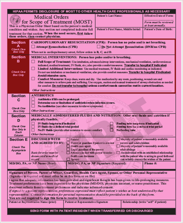 medical order for scope of treatment form