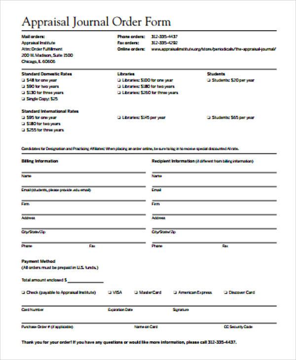 appraisal journal order form