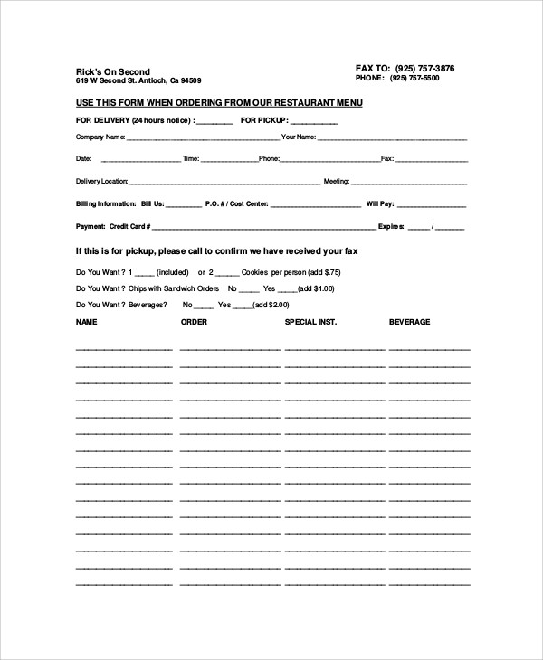Sample Food Order Form   Examples In Word Pdf