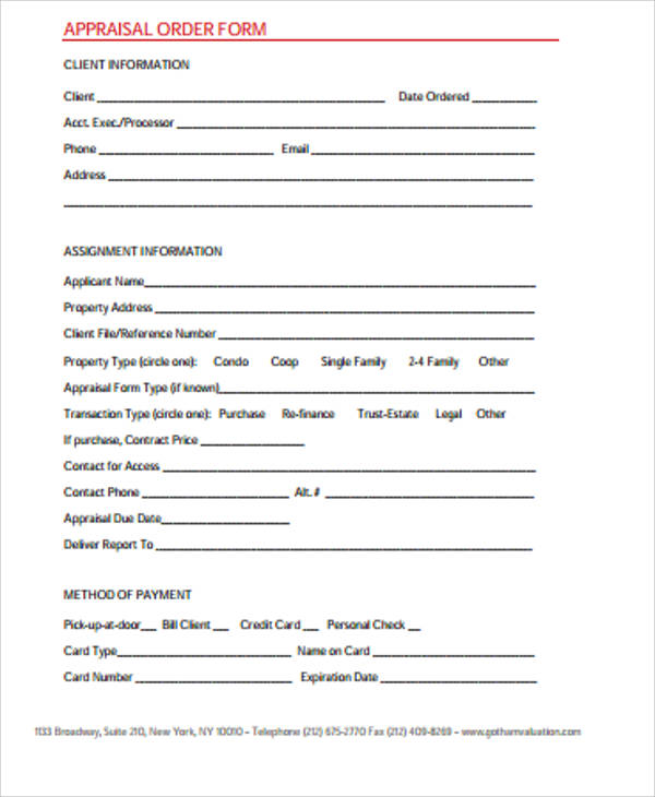 Sample Appraisal Order Form   Examples In Word Pdf