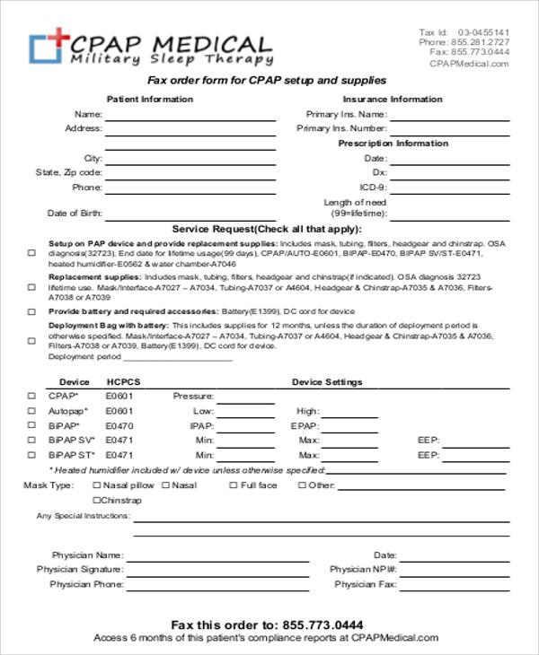 sample medical order form