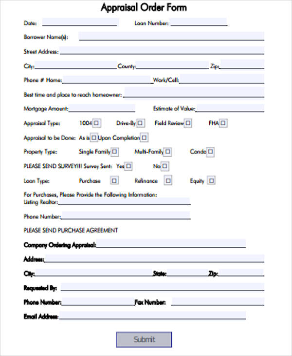 Sample Appraisal Order Form - 11+ Examples In Word, Pdf