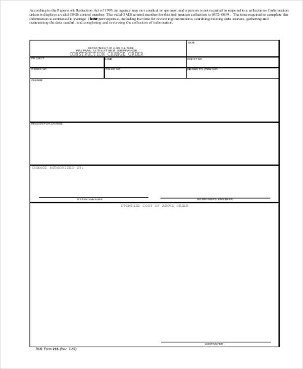 Sample Change Order Request Form   Examples In Word Pdf