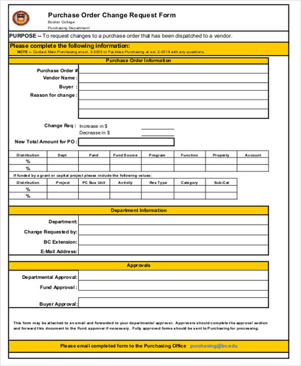 Purchase Change Order Request Form Free
