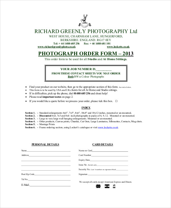 photography job order form