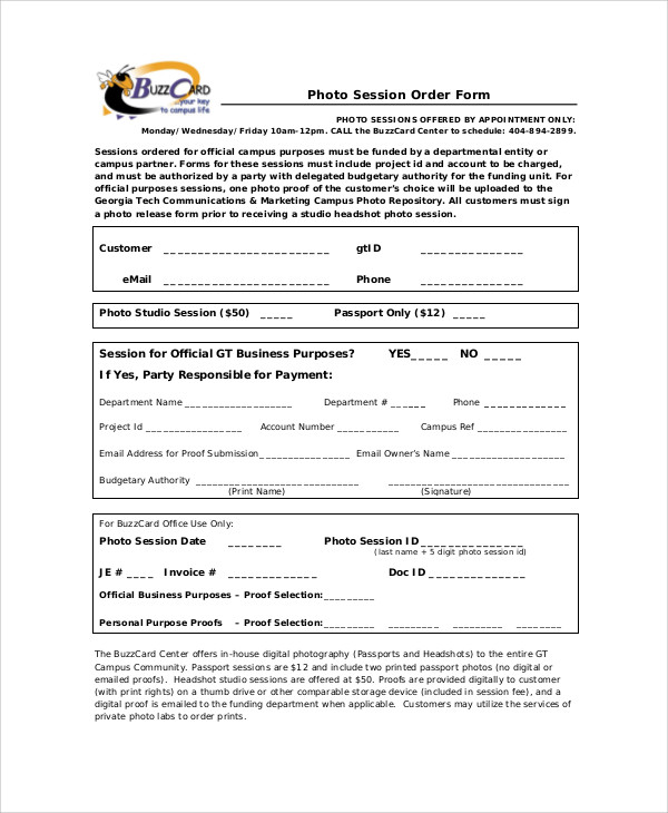 photography session order form