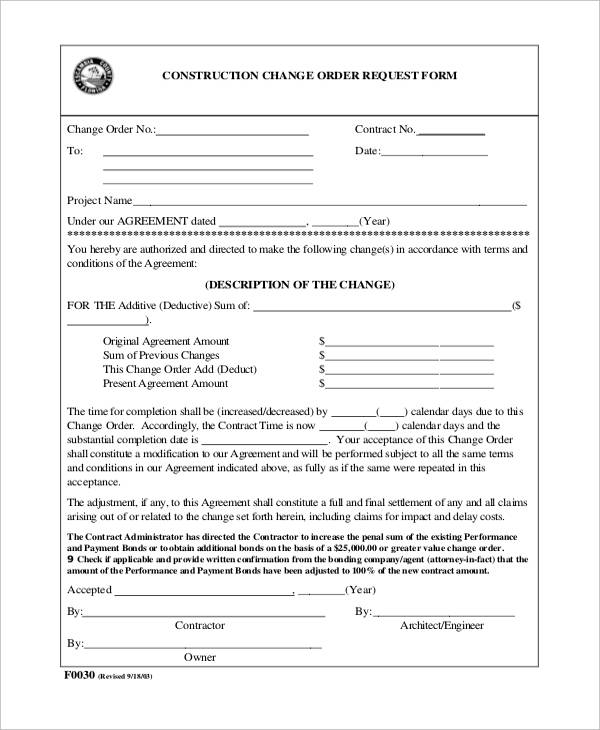Sample Construction Change Order Forms Sample Templates - Construction contract change order template