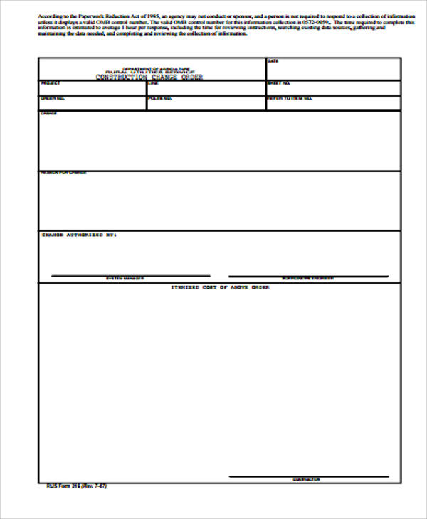 Sample Construction Change Order Form   Examples In Word Pdf