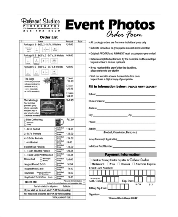 Sample Photography Order Form   Examples In Word Pdf