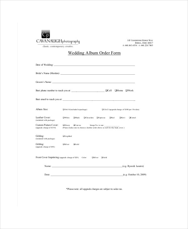 wedding photography order form