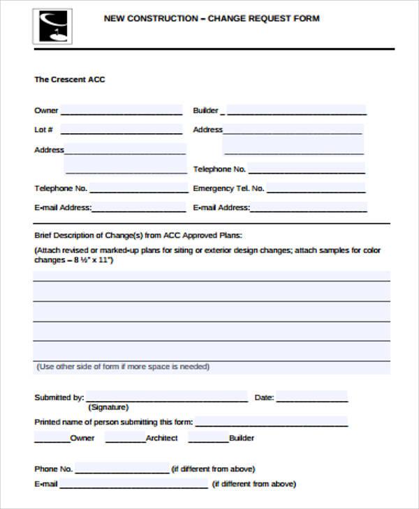 new construction change request form