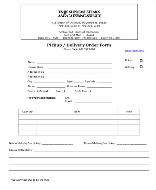 Pickup/Delivery Order Form