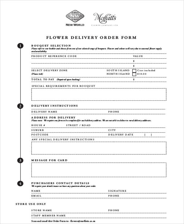 Sample Delivery Order Form 9 Examples in Word PDF – Sample of Delivery Order Form
