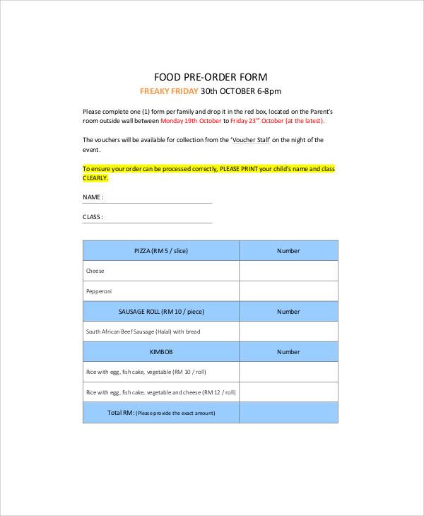 9 sample food order forms sample templates for Food pre order form template