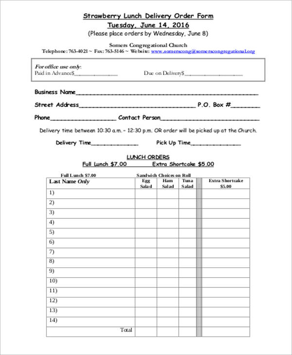 Sample Delivery Order Form   Examples In Word Pdf