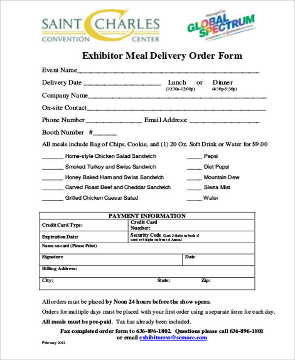 Sample Delivery Order Form 9 Examples in Word PDF – Delivery Order Form Template