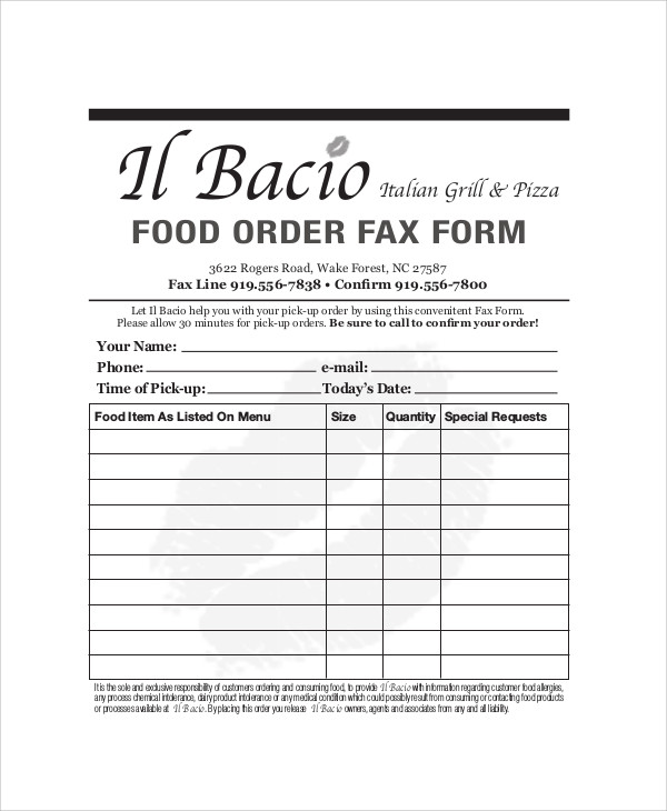 Sample Food Order Form - 9+ Examples In Word, Pdf