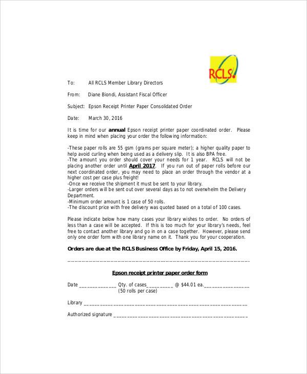 receipt paper order form
