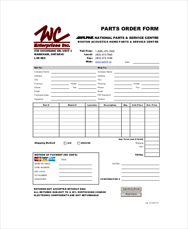 Parts Purchase Order Form In PDF  Local Purchase Order Form
