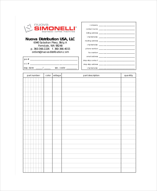 parts order form template excel