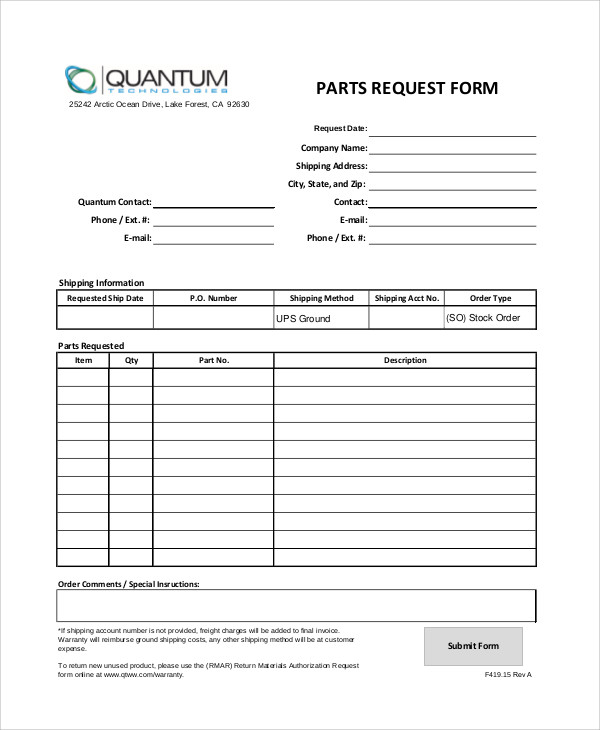 Sample Parts Order Form   Examples In Word Pdf