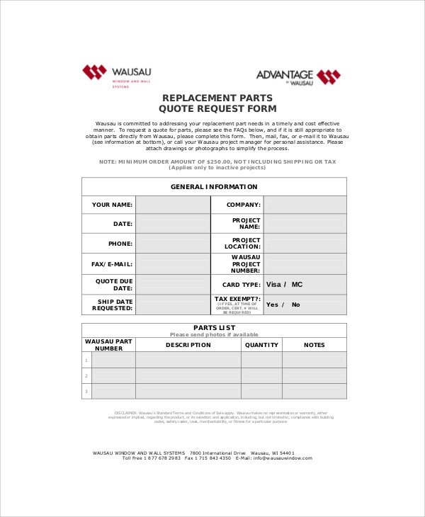 replacement parts order form
