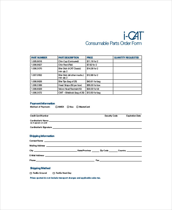 consumable parts order form