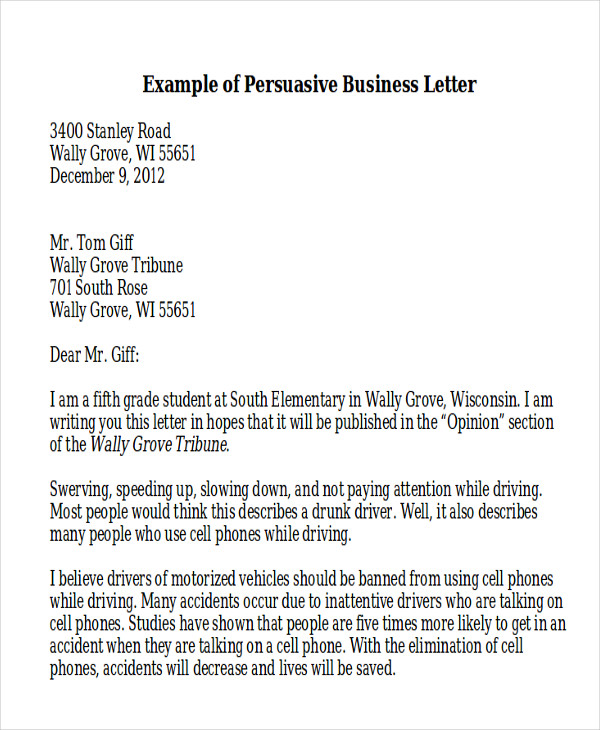 Sample Persuasive Business Letter   Examples In Word Pdf