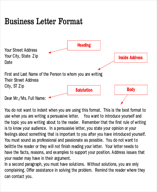 persuasive business letter template – Business Letter Sample Word
