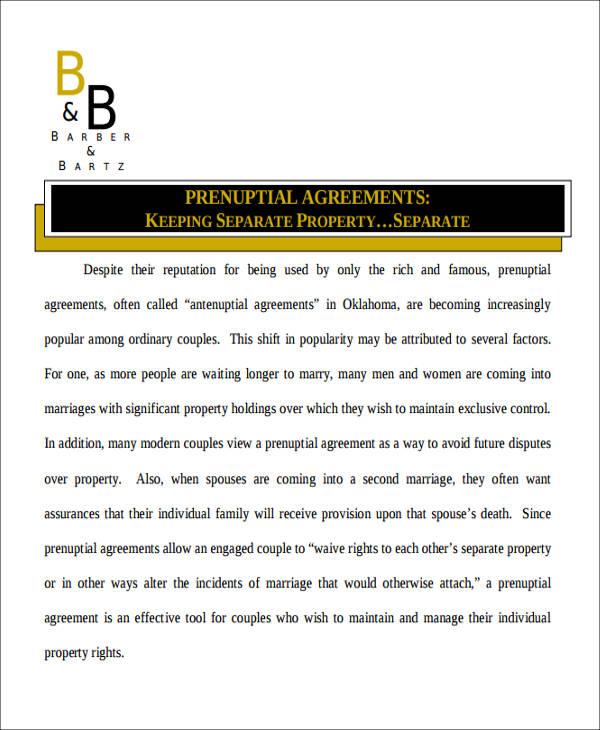 property prenuptial agreement format