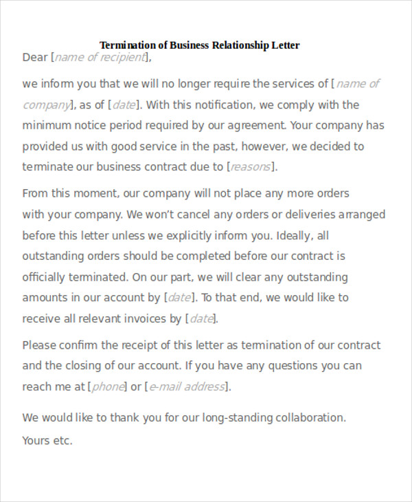 termination of business relationship letter - How To End A Business Letter