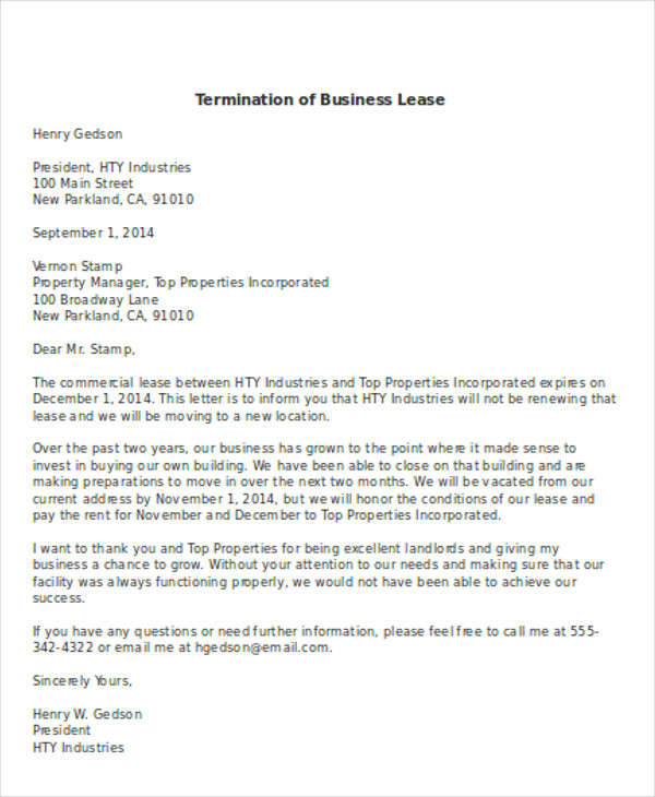 Sample Commercial Lease Termination Letter. Commercial Lease. Free