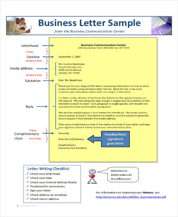 business letter layout format