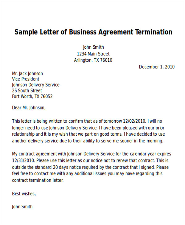 Sample Termination of Business Letter 6 Examples in Word PDF – Agreement Termination Letter Format