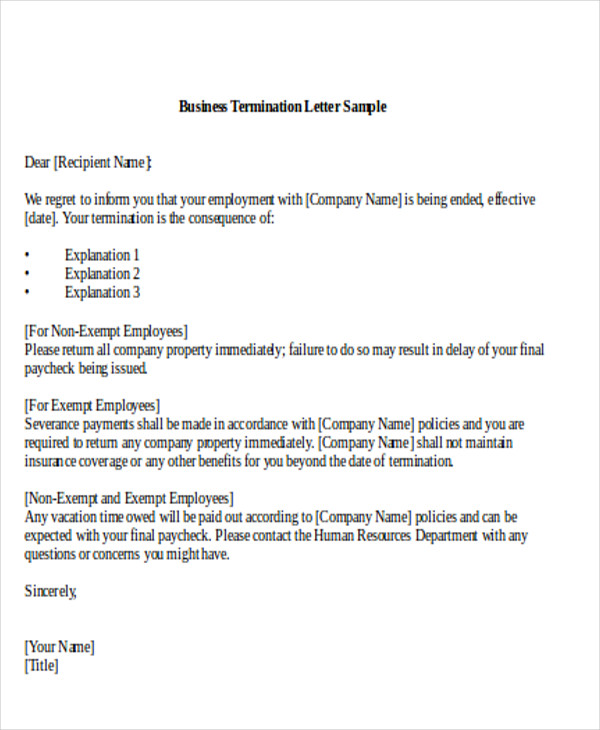 Business Termination Letter Sample Regarding Business Termination Letter Sample