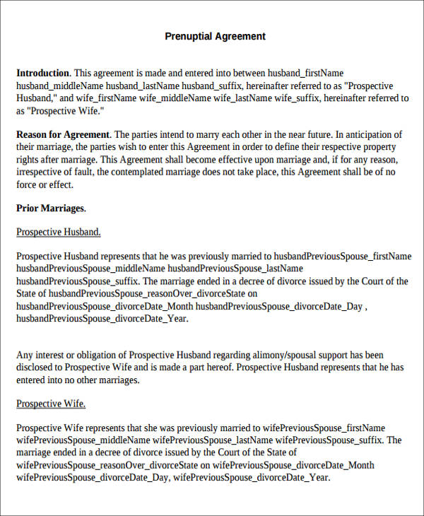 8 Sample Prenuptial Agreements Sample Templates