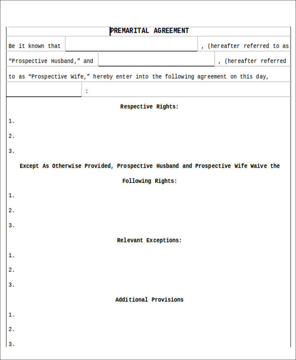 8+ Sample Prenuptial Agreement - Free Sample, Example,Format Download