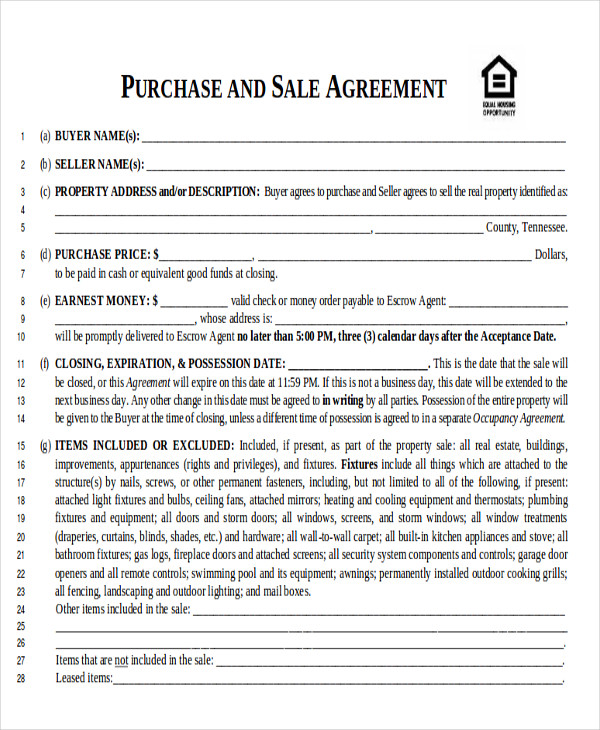 6 Sample Home Sales Contracts Sample Templates