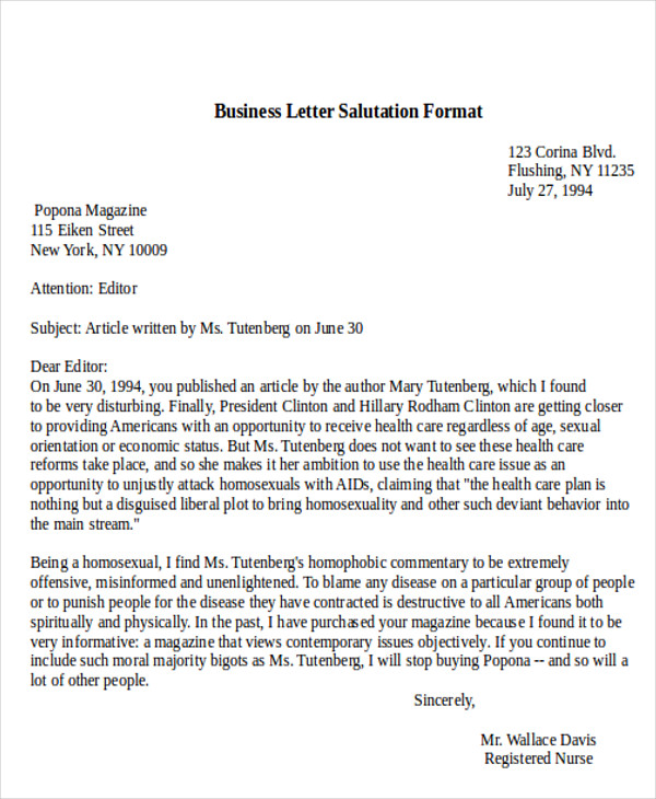 5 sample business letter salutations