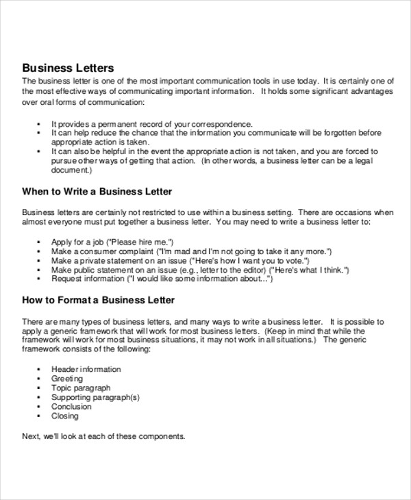 Sample Business Letter Salutation   Examples In Word Pdf