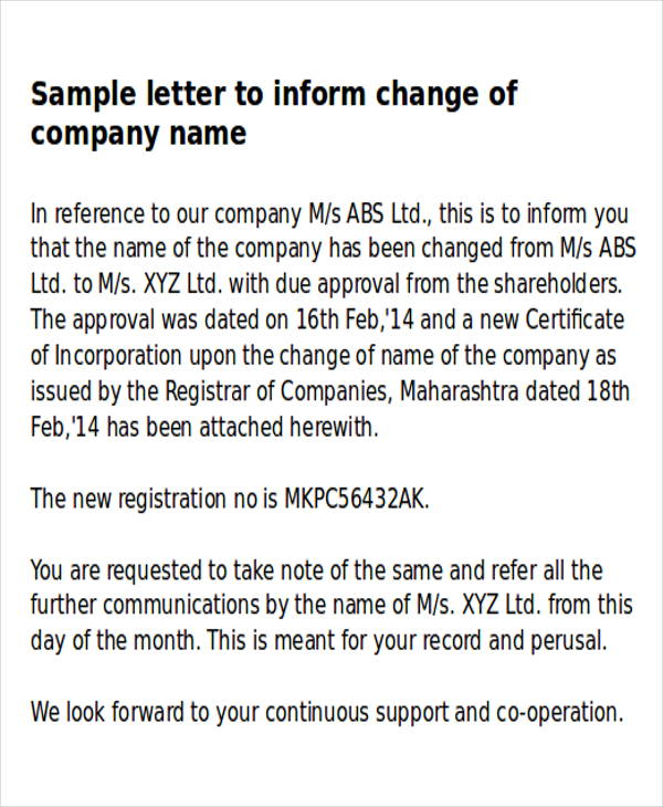 Sample Business Name Change Letter   6+ Examples in Word, PDF