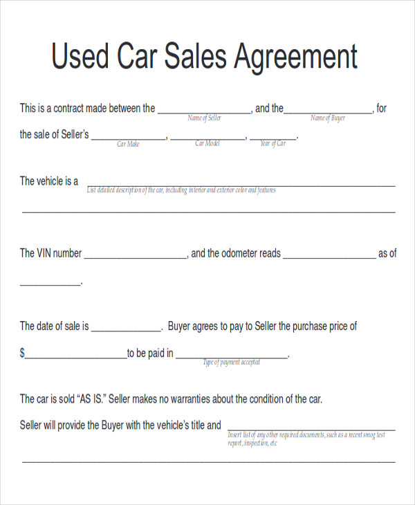 Used Car Sales Contract With Payments  Private Owner Car Sale Contract