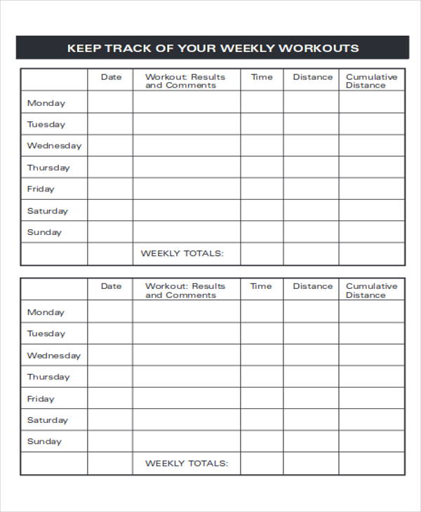 Workout Tracking Sheet Printable Fitness Tracker Food Journal